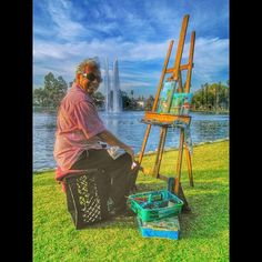 Picture of a man painting at Echo Park Lake in Echo Park Los Angeles, CA. Picture taken by John Baquiran who shared this with us via Google Plus. www.echoparkforums.com Park Pictures, Echo Park, Crayons, Sketchbooks, Google, Painting, Art, Art Background, Colouring Pencils