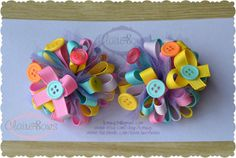 Set of Two Funky Loopy Puff Bows Over the Top by ShopClaireBows, $12.00