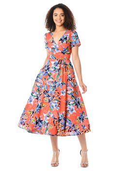47d356a56c8 Floral print cotton wrap dress