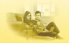 A young couple reading the Bible and researching online