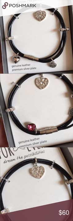 f0d13531a97 New Genuine Leather Silver Heart Wrap Bracelet Genuine leather. Premium  silver plate. I have