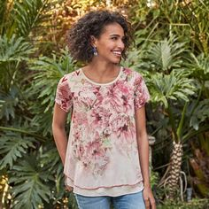 Ever Blooming Top - A-line top with a striped knit layer and bold floral mesh overlay.