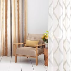 Warwick Fabrics, TULLOCH Collection. Drapery / sheer. Chair upholstered in 'Jarvis'. #warwickfabrics