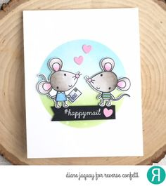 Card by Diane Jaquay, Reverse Confetti stamp set: Mouse Mail. Confetti Cuts: Mouse Mail and Mailbox Starter (hearts). Friendship card. Valentine's card.