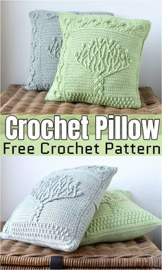 projects unique Fun And Gorgeous Free Crochet Pillow Patterns To Spruce Up Your Home Free Crochet Pillow Pattern Crochet Tree, Diy Crochet, Crochet Crafts, Crochet Projects, Crochet Pillow Cases, Crochet Pillow Patterns Free, Crochet Motif, Knit Pillow, Free Pattern