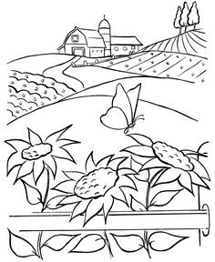 Farm scenes coloring page | Farm barn, sunflowers and a butterfly