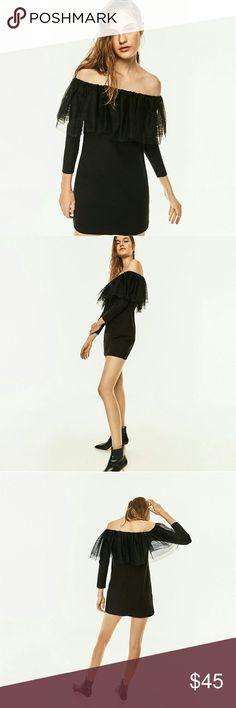 Selling this Zara Tulle Frill Black Mini Dress on Poshmark! My username is: littlepolkadot. #shopmycloset #poshmark #fashion #shopping #style #forsale #Zara #Dresses & Skirts