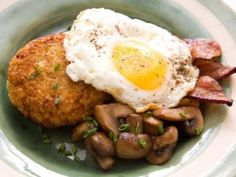 Quinoa Cakes with Mushrooms, Bacon & Sunnyside Fried Eggs