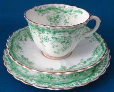 Antique Staffordshire Green Transferware Teacup Trio Ironstone 1880s Floral