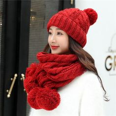 599c085dca2 Winter ladies hat and scarf sets warm pom pom knit hat scarf combo for women