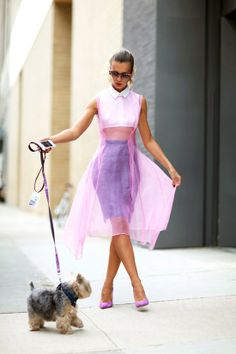 Natalie Joos is ethereal in pink with a pooch....