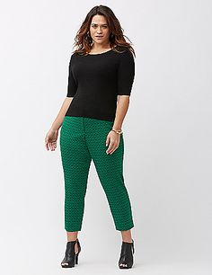 Patterned jacquard takes the wear-it-everywhere ankle pant way beyond basic black, with modern angled pockets and flirty slit ankles. Cut for the moderately-curvy figure, the Lena is the ideal fit for shapes that are smaller in the waist with curvier hips and thighs. Double bar & slide and zip fly closure with belt loops. lanebryant.com
