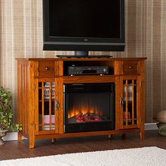 "Darwell Electric Media Fireplace for TVs up to 50"", Mission Oak"