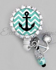 CUTE ANCHOR ID REEL BLING BADGE HOLDER with charm Nurse, Teacher, ETC