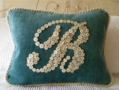 Teal and Cream Pillow With Letter 'B' in Vintage Buttons -- by Letter Perfect Designs on Etsy