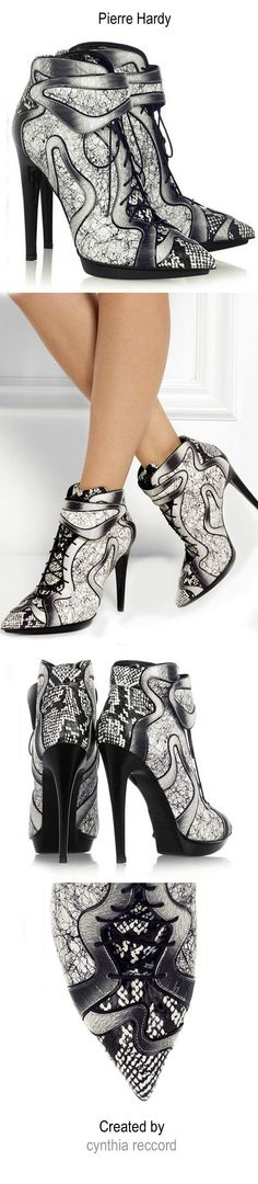Pierre Hardy | FW 2014 | Dégradé elaphe and printed leather ankle boots | cynthia reccord