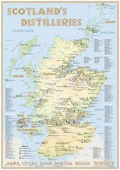Scotland's Distilleries Map (2015 Poster) · with all Whisky Distilleries in Scotland · 5th Edition 2015 · What's new in the map with 36 page booklet? 112 active Malt Distilleries (103 in 2013), 27 Malt Distilleries in planning or under construction (16 in 2013), 630 Lost Malt Distilleries; 7 Grain Whisky Disilleries; 25 Lost Grain Whisky Distilleries