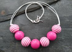 Pink and white striped round acrylic bead necklace, heart shaped clasp Pink And White Stripes, Organza Gift Bags, Acrylic Beads, Handmade Jewellery, Heart Shapes, Beaded Necklace, Jewelry Making, Colours, Gifts