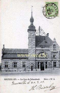 ancienne carte postale de SchaerbeekLa gare de Schaerbeek