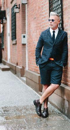Mannerisms: Nick Wooster playful in a short Tartan suit.