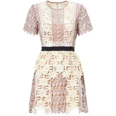 SELF-PORTRAIT 3D FLORAL MINI DRESS ($545) ❤ liked on Polyvore featuring dresses, pastel dress, short lace dress, tall dresses, floral dresses and floral lace dress