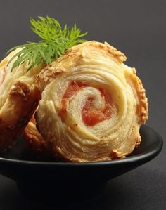 Rolled puff pastry with salmon