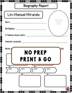 An excellent resource to accompany MUSIC LISTENING LESSONS MUSIC COMPOSER: LIN-MANUEL MIRANDA and HIS MUSIC Biography Research and Listening Activities ♫ Excellent addition to your Composer of the Month! ♫ Completed foldables can be pasted into student workbooks/listening journals OR displayed on a bulletin board. No prep, just print and go! ♫ ♫ #musiceducation #mtr