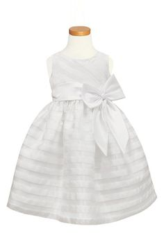 Free shipping and returns on Sorbet Stripe Organza Dress (Toddler Girls, Little Girls & Big Girls) at Nordstrom.com. Sheer organza stripes lend subtle contrast to a charming sleeveless dress accented with an oversized bow at the waist. A buoyant petticoat accentuates the delightfully full silhouette.