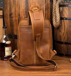 Vintage Leather Sling Backpack for Men Cow Leather, Vintage Leather, Vintage Men, Leather Bags, Sling Backpack, Leather Backpack, Sport Casual, Crossbody Shoulder Bag, Travel Bag