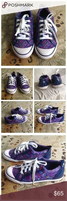 Coach Poppy Barrett Style Sneakers 6.5 Coach Poppy Sneakers. Barrett style blue & purple multi-colored. Only worn a few times. Excellent condition! Size 6.5B. Coach Shoes Sneakers