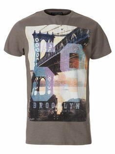 Twisted Soul Grey Brooklyn 59 Print T-Shirt, £12.99