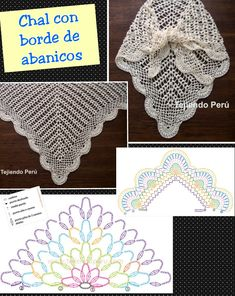 Chal con borde de abanicos | see two videos and directions in original post at http://www.tejiendoperu.com/crochet/chal-triangular-o-punta-con-abanicos/