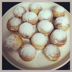Aebleskiver (Danish Pancake Balls)~ 1 1/4 cups all-purpose flour, 1/2 teaspoon salt, 2 1/4 teaspoons baking powder, 2 tablespoons granulated sugar, 1/2 teaspoon ground cardamom or ground cinnamon, 1 egg, beaten, 1 cup milk, 3 tablespoons butter or margarine, powdered sugar, fruit jam or preserves.