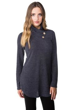 Sweater with Crossover Neckline and Button Detail