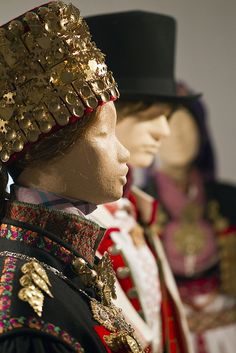 Detail from old Norwegian national costumes.  The collection of Rikard Berge and from the exebition at Seljord of old costumes from Telemark county, Norway
