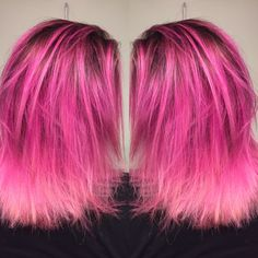 Pink hair melt with dark root by yours truly :)