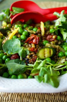 Zesty lentil, courgette & pea salad Dried Lentils, Pea Salad, Kitchen Cupboards, Kung Pao Chicken, My Recipes, Fries, Salads, Dishes, Salad