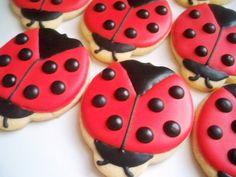 Custom Listing for Ladybug Cookies, Ladybug Favors, Ladybug Decorated Cookies Kinds Of Cookies, Cute Cookies, Cupcake Cookies, Sugar Cookies, Cupcakes, Cookie Desserts, Cookie Recipes, Cookie Ideas, Ladybug Cookies