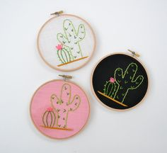 Cacti Hand Embroidery Hoop Art. Choose Pink white by HedgeByLexy