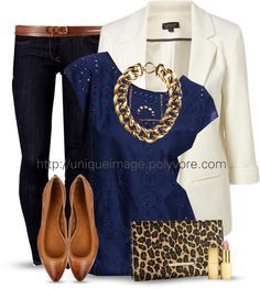 black pants or dark jeans, navy shirt, white blazer, cognac shoes, gold jewelry