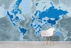 Cool Blue World Map Wallpaper Mural creates a stunning feature wall. World Map Sticker, World Map Decor, Kids World Map, World Map Canvas, World Map Wall Art, Vinyl Wallpaper, World Map Wallpaper, Watercolor World Map, World Map Design