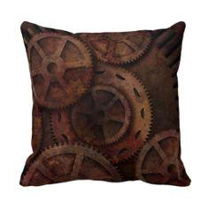 Steampunk gears throw pillow.  $32.95