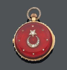 """t is gold red enamel guilloche background radiant decorated with rose cut diamonds in crimp. The edge and bail are set with rose cut diamonds and half pearls."