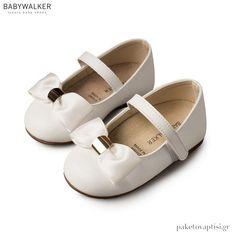Γοβάκια Λευκά με Σατέν Φιόγκο και Χρυσή Λεπτομέρεια Babywalker BS3537 Christening, Mary Janes, Sneakers, Shoes, Fashion, Tennis, Moda, Slippers, Zapatos