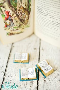 Put these on red paper for bookish Valentine's Day favors! Turn Hershey chocolate nuggets into miniature books with gilded pages with this easy tutorial, including a free printable. #ValentinesDay