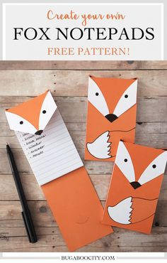 FREE printable fox note pads