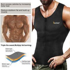 a632750760 Amazon.com : Junlan Men Weight Loss Shirt Workout Neoprene Top Training Body  Shaper Clothes Sweat Sauna Suit Exercise Fitness Short Sleeve (Black, ...