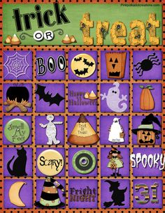 Fun, Trick or Treat Bingo game with calling cards.  Free Printable!