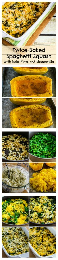 Twice-Baked Spaghetti Squash with Kale, Feta, and Mozzarella is low-carb, gluten-free, and SBD Phase One, and it's delicious.  I'd enjoy this as a side dish or a #MeatlessMonday main dish. [from KalynsKitchen.com]