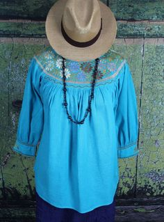 Earth Tones & Turquoise Hand Embroidery Blouse Cotton Chiapas Mexican Peasant #Handmade #blouse
